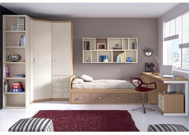 Dormitorio Juvenil con cama nido y armario rincón