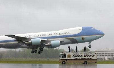 Albany County Sheriff Special Operations surveys the area as Air Force One departs Albany International Airport in Colonie, Tuesday, May 8, 2012. (Jeff Couch / The Record )