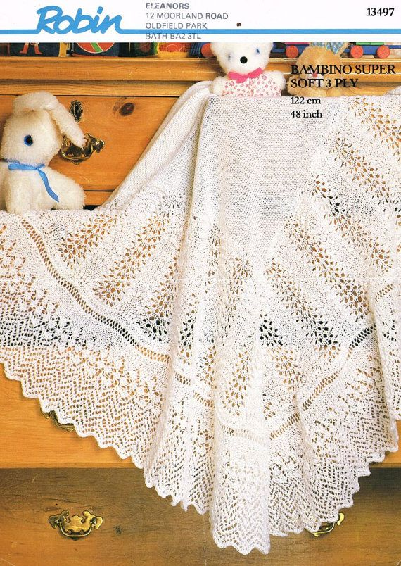 baby lace  shawl vintage knitting pattern PDF by Ellisadine
