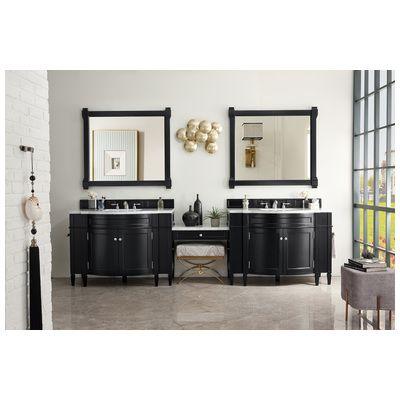 "Best Deal - James Martin Brittany 118"" Double Bathroom Vanity Set, Black Onyx with Makeup Table, 3 CM Carrara Marble Top 650-V118-BKO-DU-CAR"