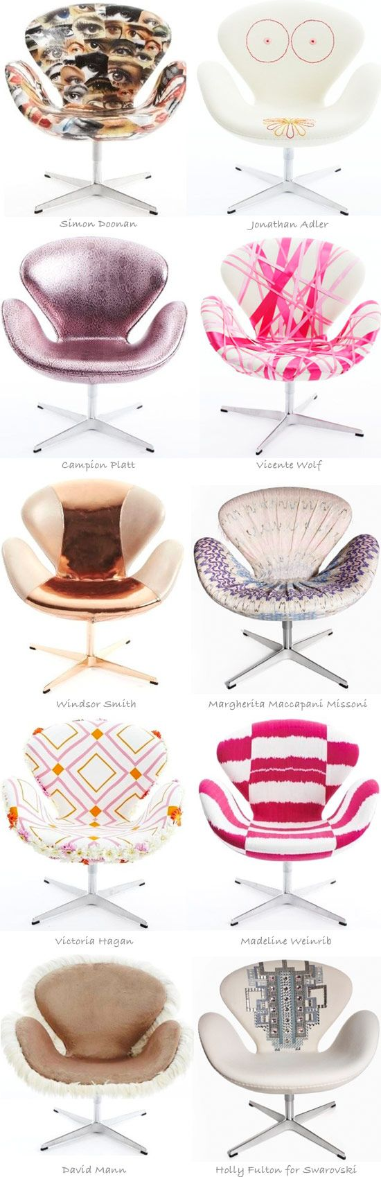 Arne Jacobsen's iconic Swan chair gets redesigned by different designers. Fun!