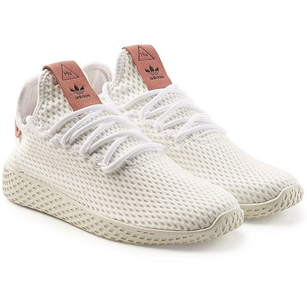 Adidas Originals Pharrell Williams Tennis HU Sneakers ($99) ❤ liked on Polyvore featuring shoes, sneakers, white, white lace up sneakers, white trainers, laced up shoes, adidas originals shoes and white tennis shoes