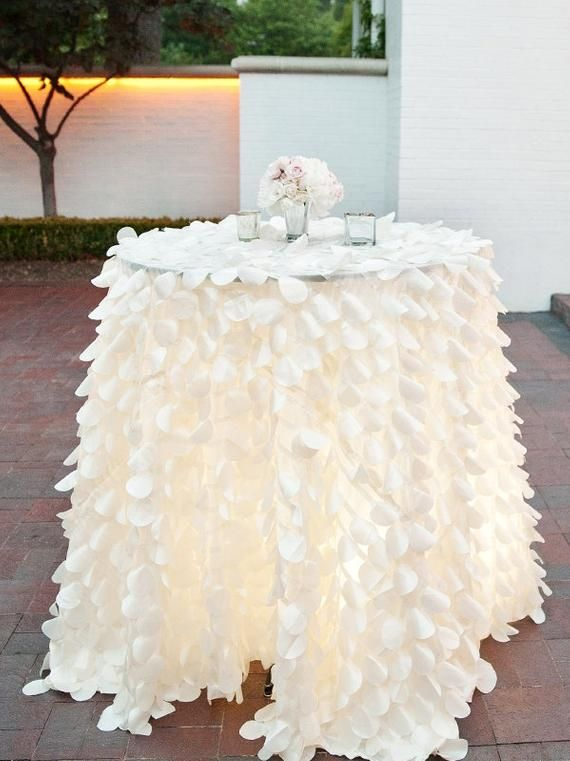 Petal Tablecloth Tablerunner 1 Day Freeship White Ivory Etsy In 2020 Wedding Cake Table Ruffled Tablecloth Wedding Table
