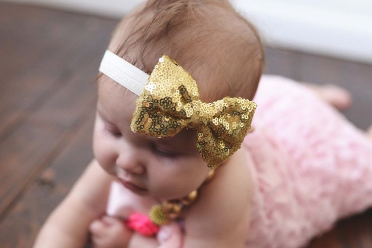 Baby girl gold sequin bow headband