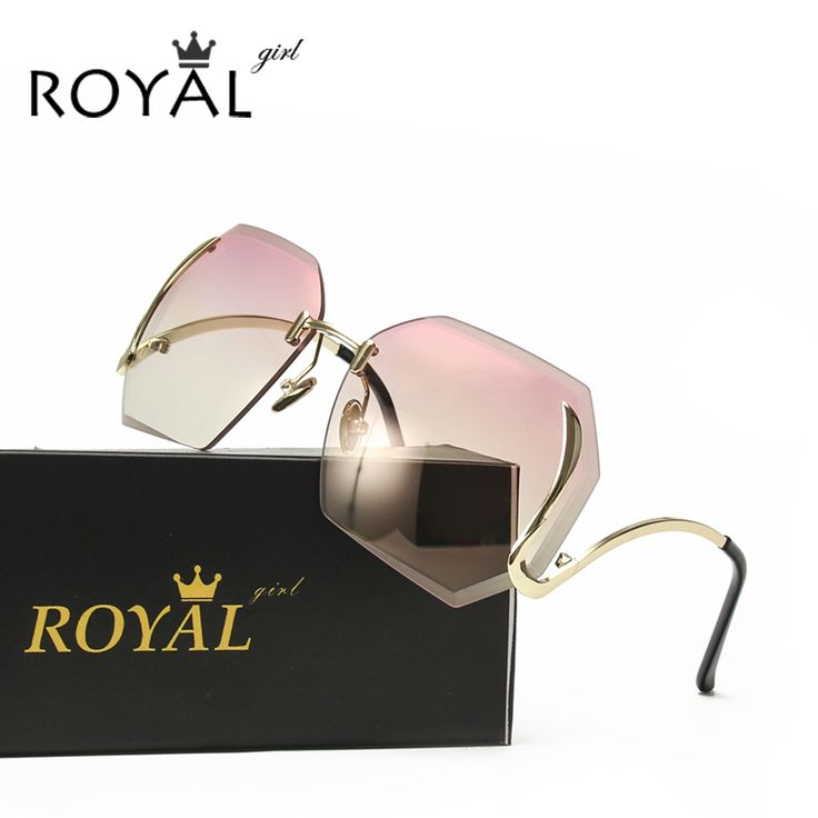 Royal Girl 2017 New Oversized Women Sunglasses Rimless Fashion Brand Designer Clear Lens Eyewear Big Integrated Goggles ss149