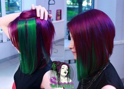 Short hair, magenta + green extensions.  Fuck Yeah, Dyed Hair!