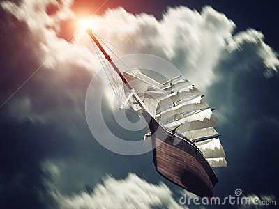 Galleon floating on Clouds