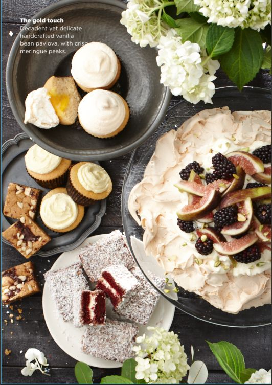 Our incredible new Gold range #woolworths, featuring our Gold Baking Kits ( picturing Lemon Curd Cup Cakes, Brown Sugar Blondie,& Red Velvet lamingtons) Gold Free Range Egg, Vanilla Bean Pavlova #Woolworths