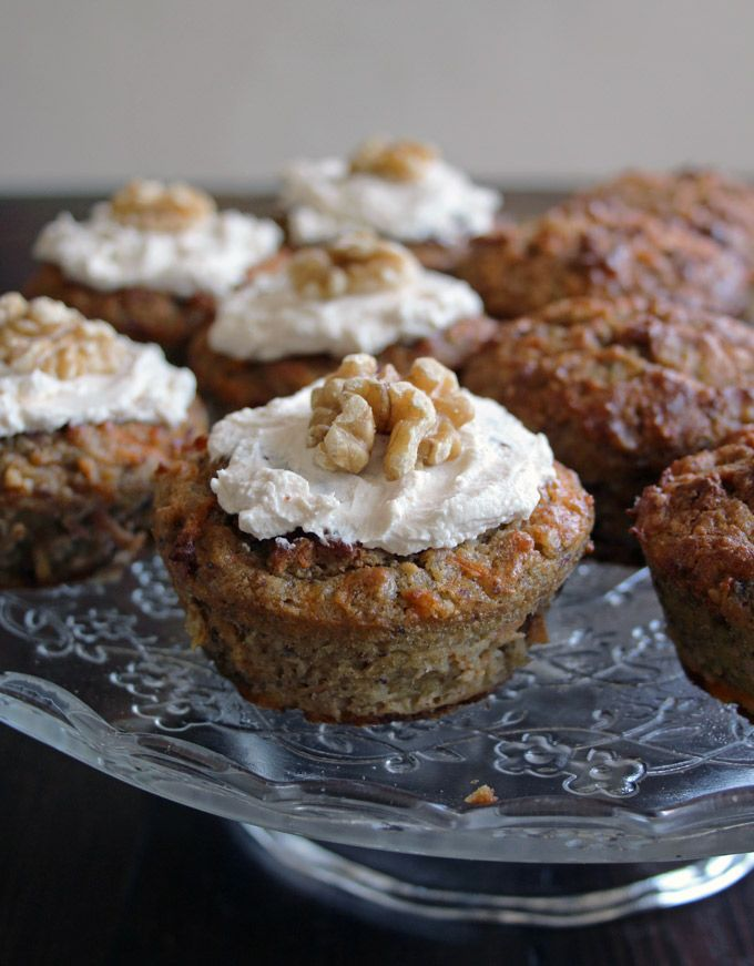 Low Carb No Sugar Carrot Cake Muffins - so healthy you could have it for breakfast. Grain free, packed with carrots and sweetened with banana and stevia. Super-moist and so easy to make
