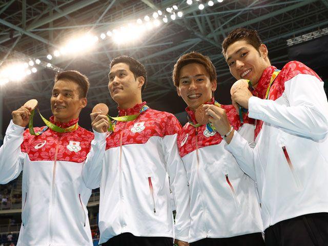 日本が銅!52年ぶりのメダル 競泳男子800メートルリレー