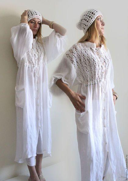 Купить или заказать Платье-рубашка  из хб пряжи  и льняной марлевки 'Шум' в интернет-магазине на Ярмарке Мастеров. Шумит лес и речка у камня Шумят на все голоса Птичья стая и я ... Богемный шик бохо стиля в этом платье невероятно притягателен. Платье хочется рассматривать и находить новые детали. Части вязаных деталей создают тот необходимый ажур стилю. Платье может быть и платьем-рубашкой.