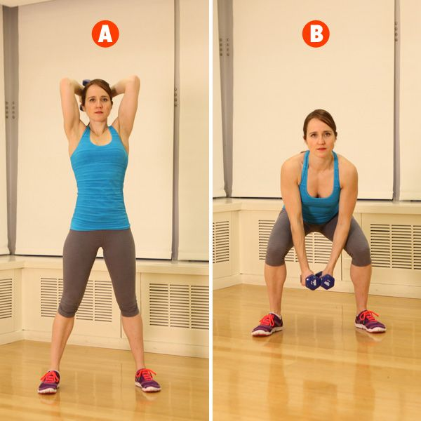 Win the battle of the bulge with woodchopping squats, an exercise from our total-body training workout: http://www.womenshealthmag.com/fitness/military-workout?cm_mmc=Pinterest-_-womenshealth-_-content-fitness-_-onedumbbellworkout