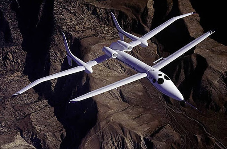 The Proteus Aircraft of Burt Rutan on early morning test flight.   Aviation