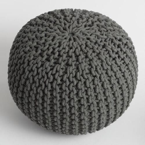 One of my favorite discoveries at WorldMarket.com: Charcoal Knitted Pouf