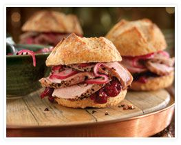 Roast Pork Tenderloin Sliders with Cranberry Sauce and Pickled Onions: Entertaining is simple, fun and flavorful when you serve Roast Pork Tenderloin Sliders with Cranberry Sauce and Pickled Onions. So delicious and easy-to-prepare, they're real crowd-pleasers. #pork #recipe