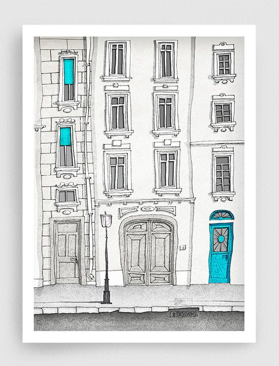 SALE, Paris illustration - The magic door (vertical version) - Paris art illustration print,Paris decor,Love,turquoise,blue,white,French fin