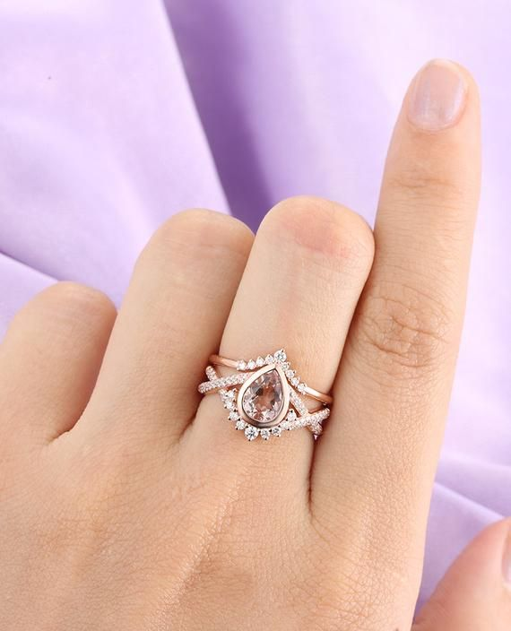 Morganite engagement ring Rose gold engagement ring Vintage Art deco Antique Diamond Twisted Wedding Women Bridal Jewelry Promise Gift  – Engagement rings