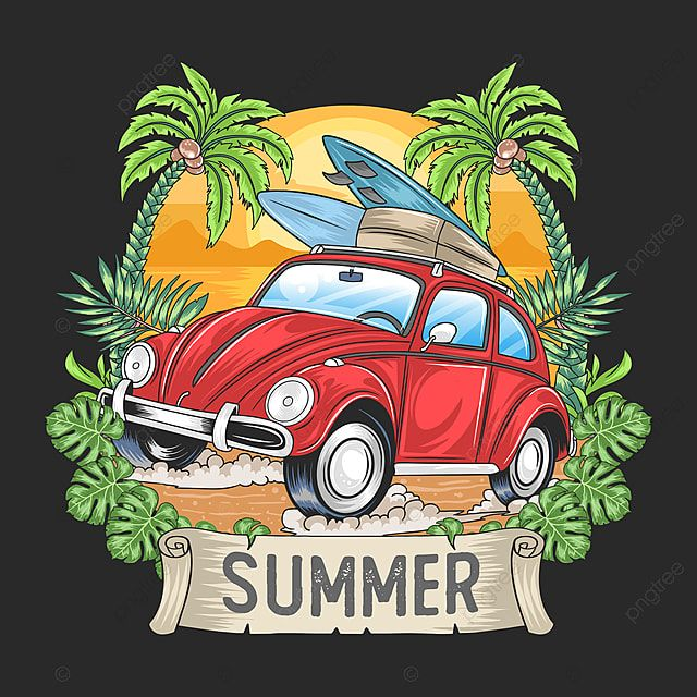 Summer Surfer And Car With Coconut Tree Artwork Vector Summer Beach Tropical Png And Vector With Transparent Background For Free Download Element Art Tree Artwork Summer Drawing