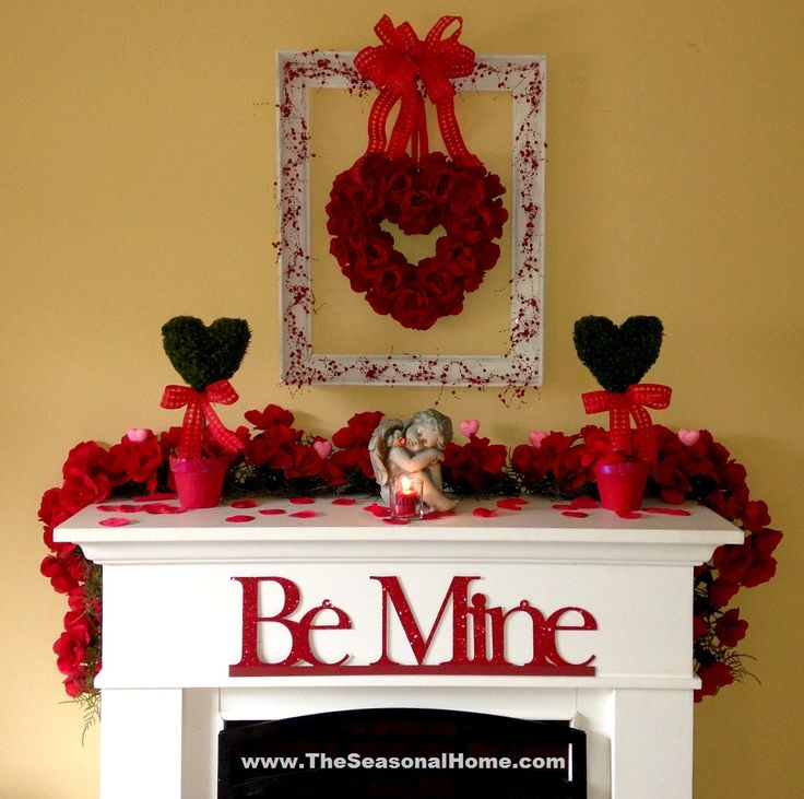 fireplace mantel shabby chic | Time to decorate the fireplace for Valentine's Day!