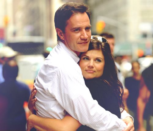 Peter and Elle Burke from the show White Collar.  They're one of my all-time favorite couples on television!  super cute couple!