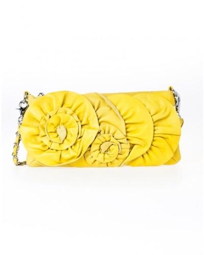 Yellow leather rose clutch