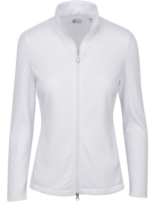White Essential Greg Norman Ladies & Plus Size Embossed Dot Golf Jacket Find more beautiful ladies outfits at #lorisgolfshoppe