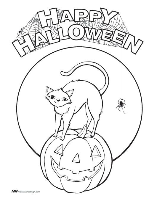 halloween cat pumpkin coloring pages - photo#23