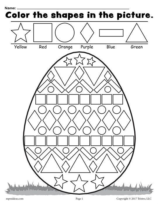 Color the Shapes in the Easter Egg Worksheet