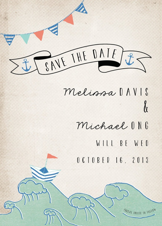 Rustic Wedding Save the Date Card  Nautical by inoroutmedia, $2.60