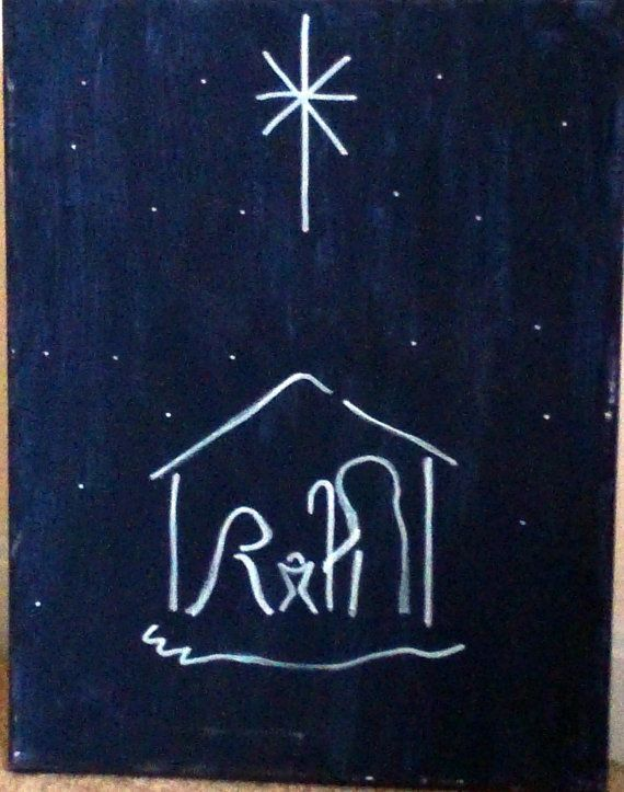 Simple Christmas Night Canvas Painting by HandmadeAMDG on Etsy
