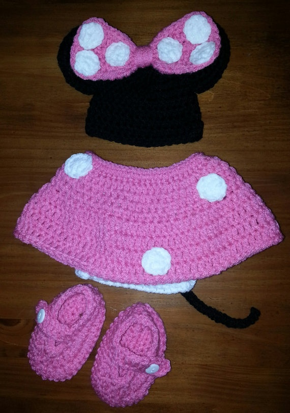 Minnie Mouse Pink Newborn Hat, Diaper Cover, Skirt, and Booties.  Great for a baby shower gift or first photos.