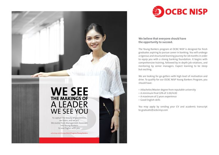 JOIN! The Young Bankers Program from Bank OCBC NISP for Bachelor or Master Degree from reputable university >> http://bit.ly/2mA6Ope DEADLINE: 17 March 2018