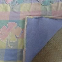 Pastel Applique Hibiscus Throw with blue marl cotton lining - size small suits cot as blanket or single bed throw.
