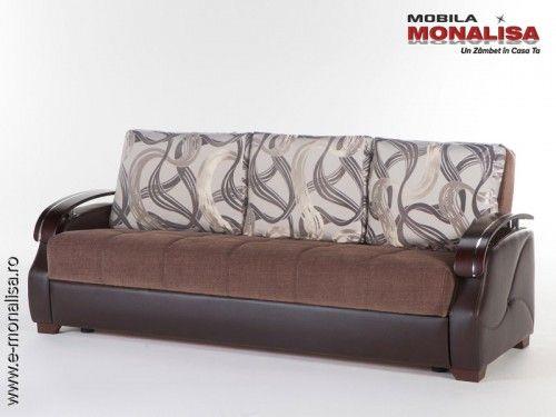 Canapele Extensibile Moderne.Canapea Extensibila 3 Persoane Pentru Dormit Zilnic Costa Brown