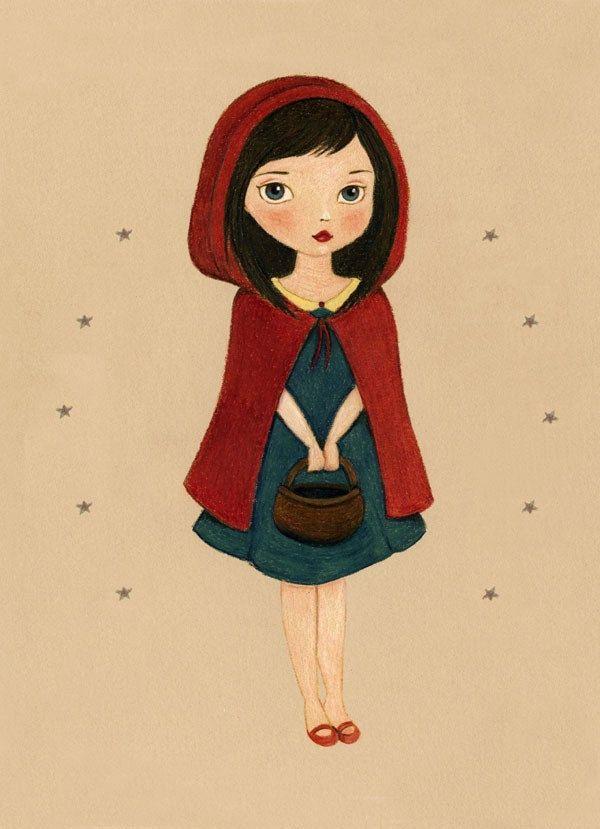 Little Red Riding Hood, Nursery Art, Girls Room Art, Nursery Art Girl, Poster, Girl Art Print, Fairytale Art, Fairy Tale, Print - Little Red Riding Hood 8x10. $10.00, via Etsy.