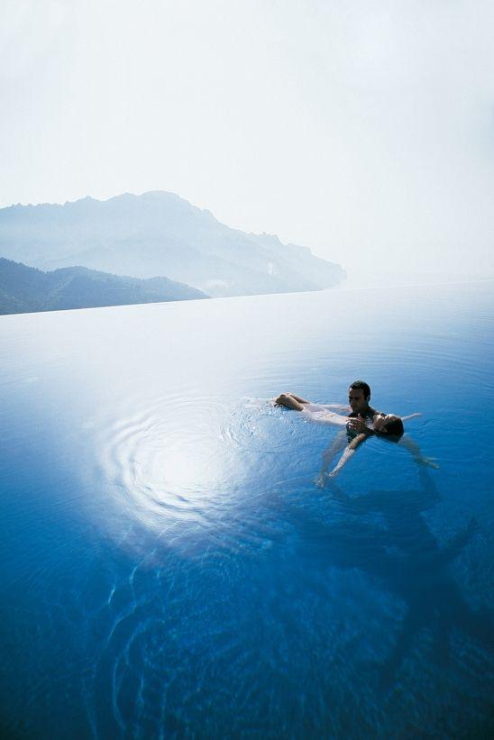 Santorini. The infinity pool at Hotel Perivolas