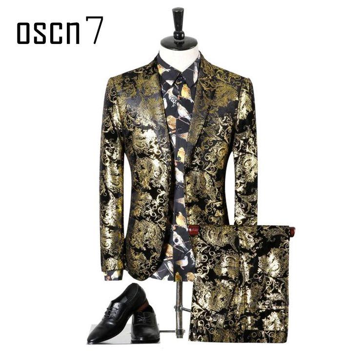 OSCN7 Gold Printed Party Suit Men Brand Slim Fit Notch Lapel Evening Fancy Tuxedo Plus Size Leisure Terno Masculino M-4XL