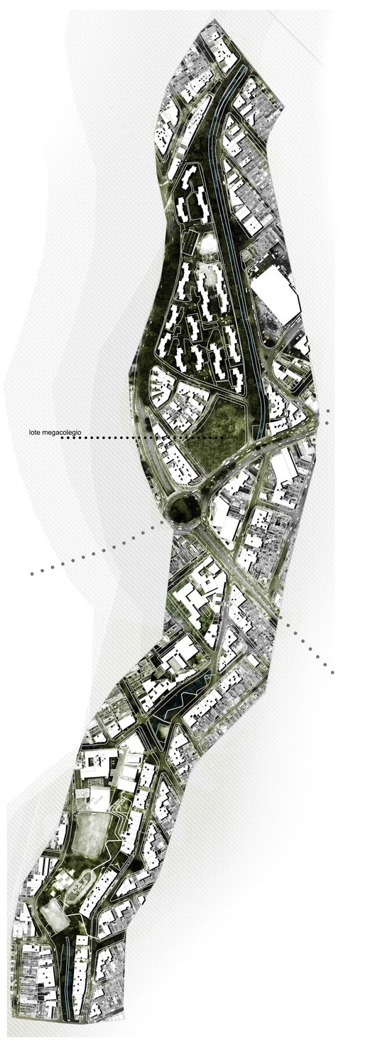 MegaColegio Jardín Educativo Ana Díaz, equipamiento educacional a escala urbana en Medellín,Proyecto urbano 1:2500: Polígono urbano de intervención. Image Courtesy of Equipo desarrollador