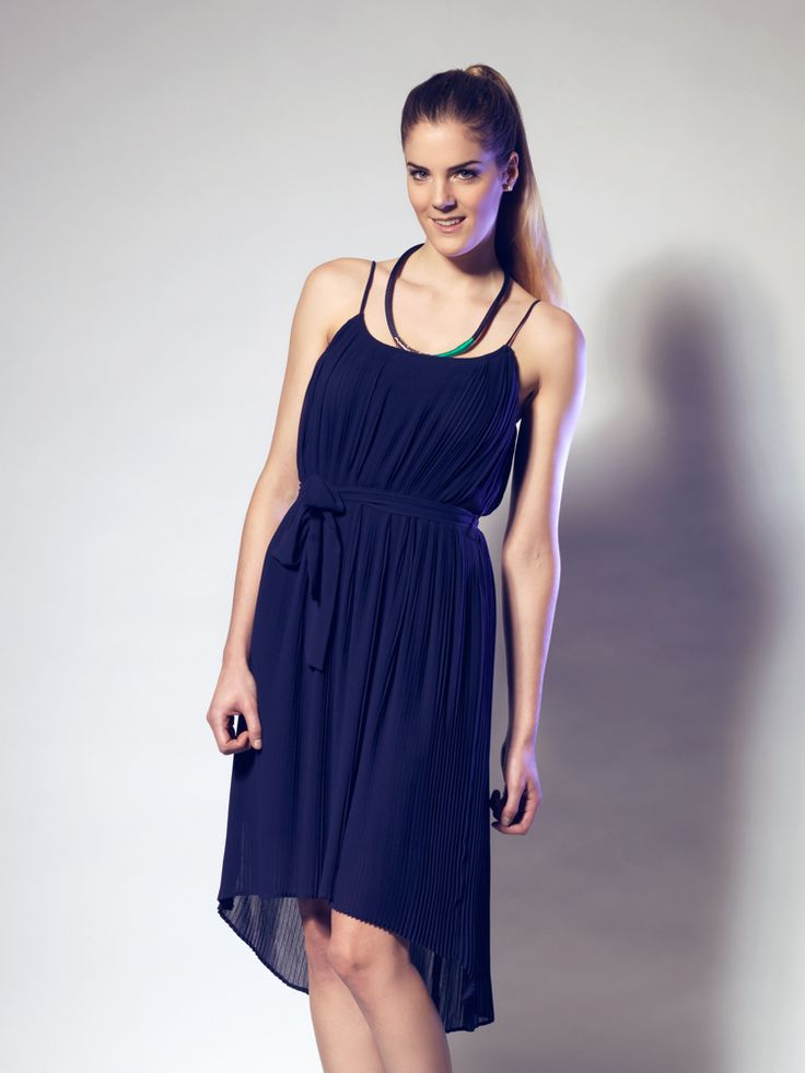 Navy Pleated Chiffon Dress by LUCA luv' cape town