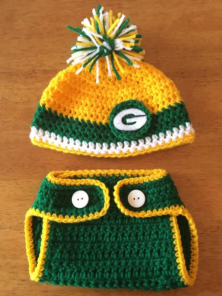 Crocheted Green Bay Packers Hat and Diaper Cover Set by BARTYyarn on Etsy