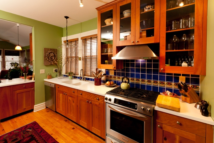 Cherry Cabinets With Mexican Tile Backsplash Simple