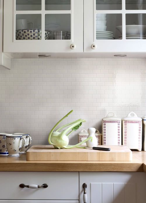 kitchen splashback with Bricks tile Almond format 05