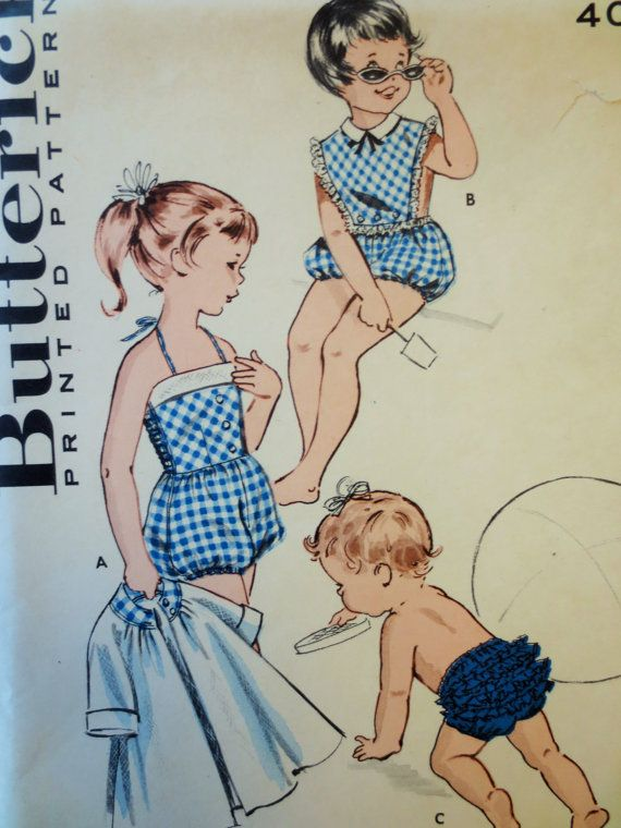 So cute: vintage Butterick 9422 sewing pattern to make: Girls Sportswear: Beach coat, bloomers, bloomer bathing suit and playsuit for girls. (A)