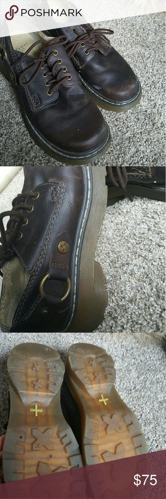 Dr. martens BIG SALE MARKED DOWN TO $45 Brown leather doc martens worn look, but only worn 2 times...i bought the wrong size and they were to big....chunky heel Dr. Martens Shoes Heeled Boots