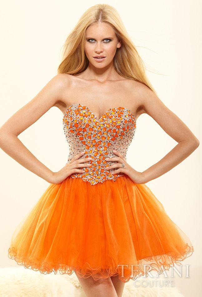 Short strapless orange prom dress 2014 by Terani #prom2014 #promdresses #orangedress