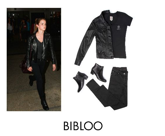 Black on black inspired by Emma Watson´s airport look