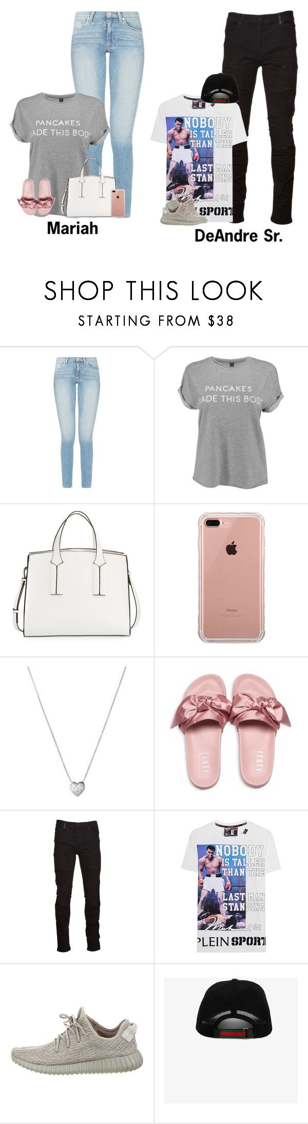 """""""Outlets, Lunch & Park w/ Totes!   The Parents"""" by myhappyfamily ❤ liked on Polyvore featuring French Connection, Belkin, Links of London, Puma, Marcelo Burlon, Plein Sport, Yeezy by Kanye West and Gucci"""
