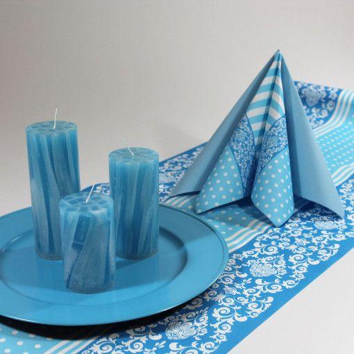 Inspiration med Stefano-servietter i lyseblå. Find produkterne her: http://mystone.dk/produkt-kategori/begivenheder/konfirmation/