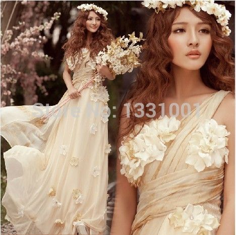 Flower-covered asymmetrical bridesmaid dress