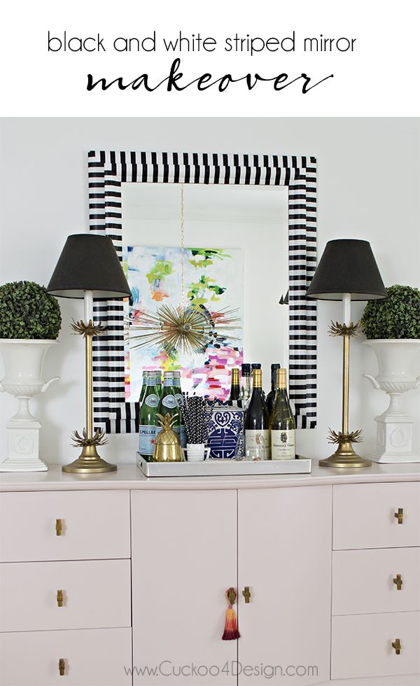 Black and white striped mirror makeover using washi tape